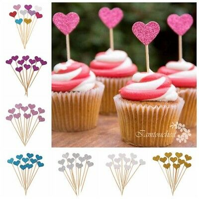 10pcs Love Heart Cupcake Toppers Baby Shower Birthday Wedding Party Cake Decor