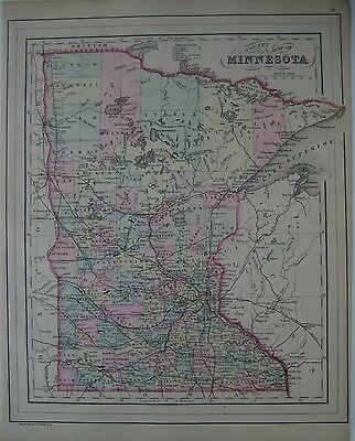 Original 1887 Bradley MINNESOTA County Map Steamboat Wagon Road Chippewa Sioux