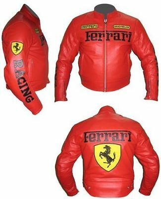 Men's Ferrari Biker Racing Cow Hide Real Leather Jacket