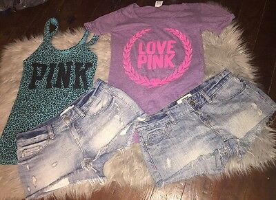 Victoria's Secret PINK Summer Spring Break Lot Bundle Shorts Tank Shirt Outfit