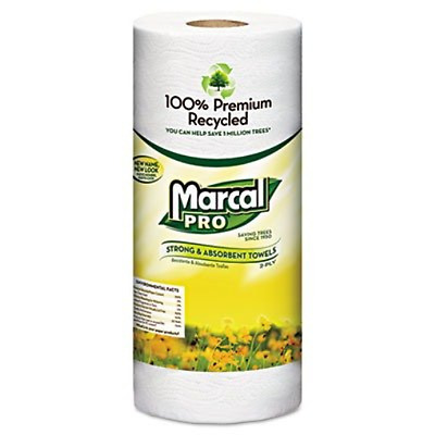 Marcal 100% Premium Recycled Towels 2-Ply 11 x 9 White 70/Roll 30 Rolls/Carton