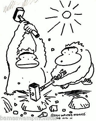 Two Apes with Hammers Breaking Rocks. Original Cartoon Art by Walter Moore