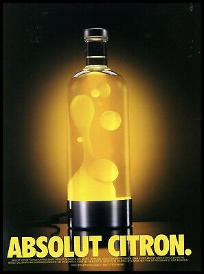 1997 Absolut Citron Vodka Lava Bottle Photo AD
