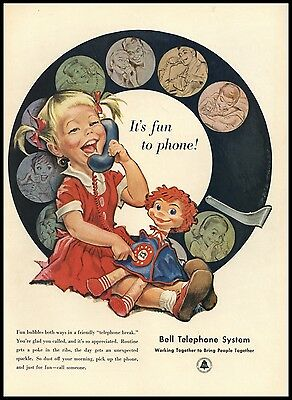 1954 Dolly Phone and Girl Talking Bell Telephone System AD