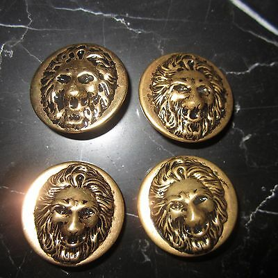"Lot of 4 Vintage 1"" Lion Head Gold Buttons Regal Ornate Antique Sewing"