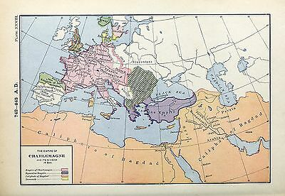1905 map Empire Charlemagne its Divisions Byzantine Empire Caliphate Bagdad 28