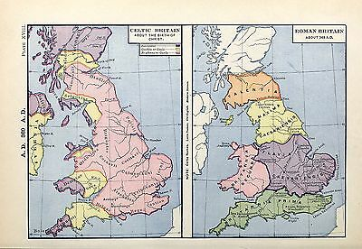 1905 map Celtic Britain at Time of Christ Roman Britain about 369 AD 18