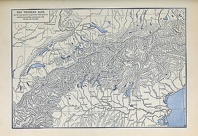 1905 map Western Alps Northwestern Souastern Slopes showing Principal Passes 57a