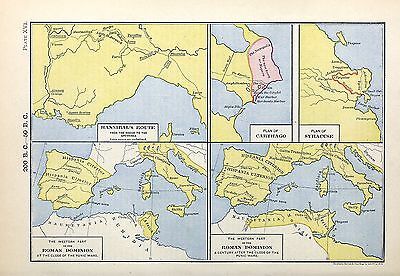 1905 map Hannibal's Route Roman Dominion Century after Punic Wars 16