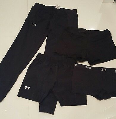 Women's XS Under Armour Compression Leggings Shorts Spandex 4 pc lot