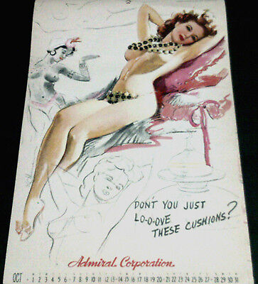 Munson October 1945 Calendar Page, 'love These Cushions'