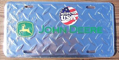 John Deere Diamond Pattern Embossed Metal License Plate AutoTag-New Sealed