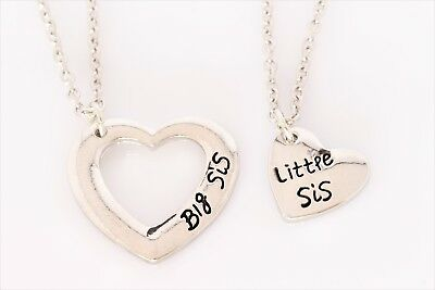 Big Sis Little Sis Heart Necklace SET Sister Silver Plated Script 2 Necklaces