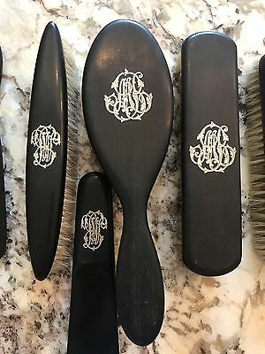 Black Ebony Vintage Vanity Dresser Brush Set Silver Monogram Sterling Sormani M