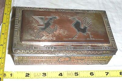 Antique Japanese Metal Trinket Box - Wood-Lined - 2 Rooster Lid Design ** NICE**