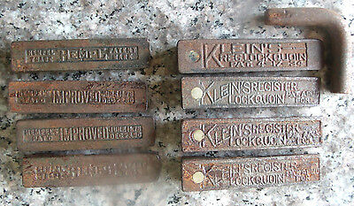 Lot 8 Vintage Kleins Hempl Lockquoins Letterpress Printing Press Quoins + Key