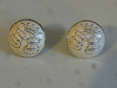 VTG Pr Neptune Crown Fish CuffLinks coat of arms Shield Crest White Silver set