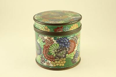 Antique Copper Cloisonne Enamel Flower Tea-Caddy Round Jar Tobacco Cigarette Box