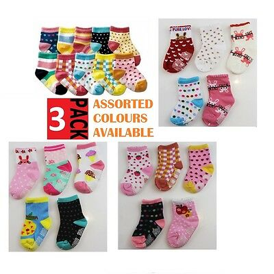 3 PACK x BABY GIRLS SOCKS Sockettes Newborn Kid Cotton Anti Slip CLEARANCE SALE