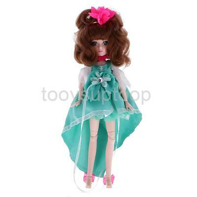 27cm Flexible 30 Joints Fashion Vinyl Jointed Body Doll Toy Gift Mint Green