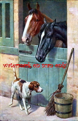 Antique Art~Horses~Stable~Hound Dog NEW Lg Note Cards