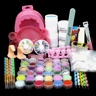36pcs Acrylic Glitter False Nail Art Pen Brush Pusher UV Gel Powder Set Kit Tips