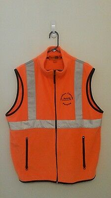 Safety Orange Fleece Vest W/Reflective Safety Tape Men's XL