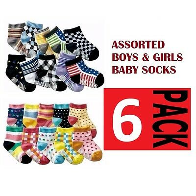6 PACK x BABY BOYS or GIRLS SOCKS Sockettes Anti Slip Newborn CLEARANCE SALE