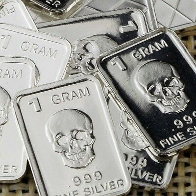 Lot 30 X 1 Gram  .999  Fine Silver Bar Bullion  / Skull  /  L5WPT366 oz