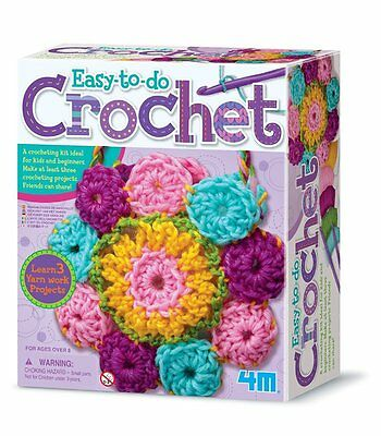 Kids Beginners Easy Fun Educational Crochet Art Craft Girls Kit Gift Set