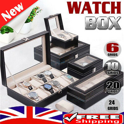 2/3/6/8/10/20 Grids Watch Display Case PU Leather Jewelry Storage Box Organize