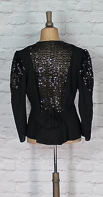 Vintage Jacket 80s Retro Women Evening Cocktail Party Beads Sequins UK 12