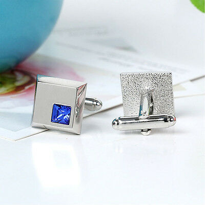 Popular Silver Vintage Men's Wedding Gift Blue Square Crystal Cuff Links
