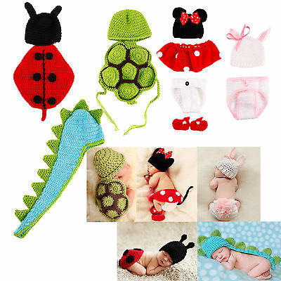 Crochet Knit Newborn Baby Girls Boys Costume Photo Photography Prop Outfits