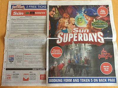2 x Shrek Adventure/London Dungeon Tickets Sun Offer - Booking Form And 10 Vouch