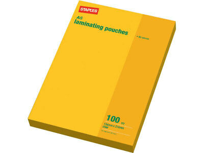 Staples Laminating Pouch A5 80 Micron Pack 100