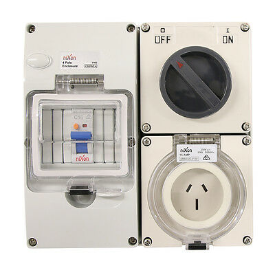 3 pin 15 Amp RCD Protected - Switched Socket RCBO Outlet RCD COMBO IP66