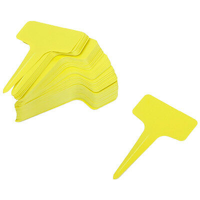 100pcs Plastic Labels T-Type for Plant Seed Garden nursery - Yellow M4H7