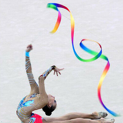 Kids 4M Dance Ribbon Gym Rhythmic Art Gymnastic Ballet Streamer Twirling Rod UK
