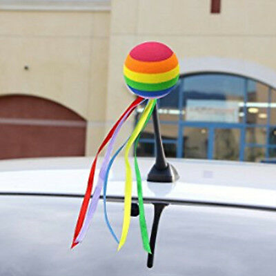 Cute Car Antenna Toppers Rainbow Colored Ribbon Antenna Balls Aerial New ball