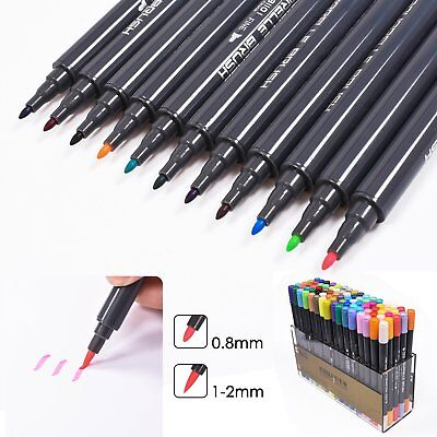 80 Color Set STA  Brush Watercolor Marker Pen Graphic Twin Tip Art Painting AU