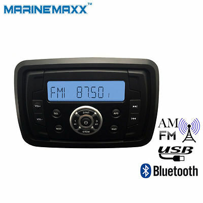 Marine ATV Boat Stereo Receiver W/Bluetooth Easy-Mount AM/FM/USB Audio System RV