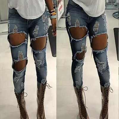 HOT Womens Destroyed Ripped Distressed Slim Denim Pants Boyfriend Jeans Trousers