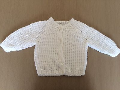Beautiful Hand Knitted Cardigan White 0-3 Months