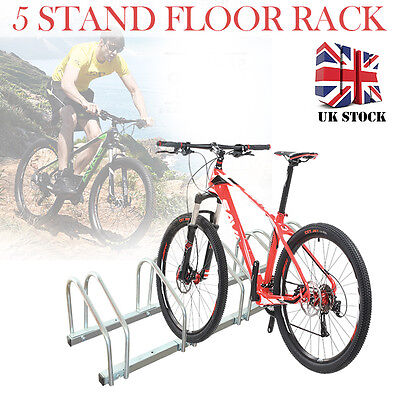 5 Bike Cycle Bicycle Stand Floor Rack Parking Storage Wall Holder Mount Steel