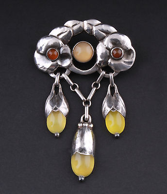 Antique Evald Nielsen Silver Brooch with Yellow and Brown Stones. VERY RARE!
