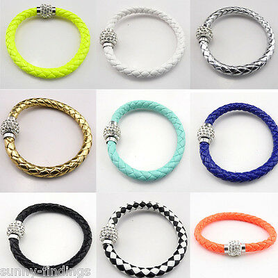 1Pcs Braided PU Leather Wrap Wristband Cuff Punk Women Rhinestone Bracelets
