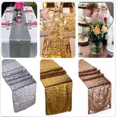Gold/Silver/Rose Champagne Sequin Table Runner Cloth Sparkly Wedding Party Decor
