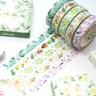 Washi Tape - Slim Floral Set of 5 tapes each9mm x 7m  Flowers Bright