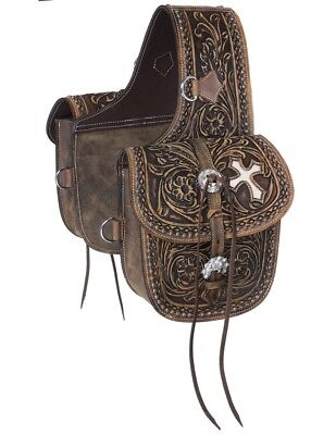Tough-1 Western Saddle Bag Antique Tooled Leather Brown 61-9940